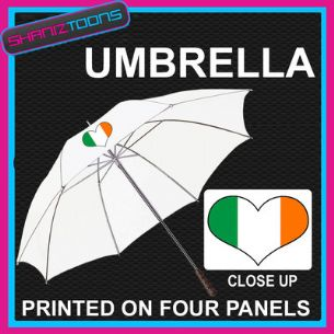 "IRELAND IRISH LOVE HEART FLAG WHITE 30"" UMBRELLA LONG HANDLE"